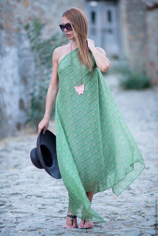 Зеленое платье. Платье длинное. Платье из шелка. Ручная работа. Ярмарка Мастеров.