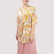 Одежда handmade. Livemaster - original item Dress pink powdery yellow white with flowers pleats. Handmade.