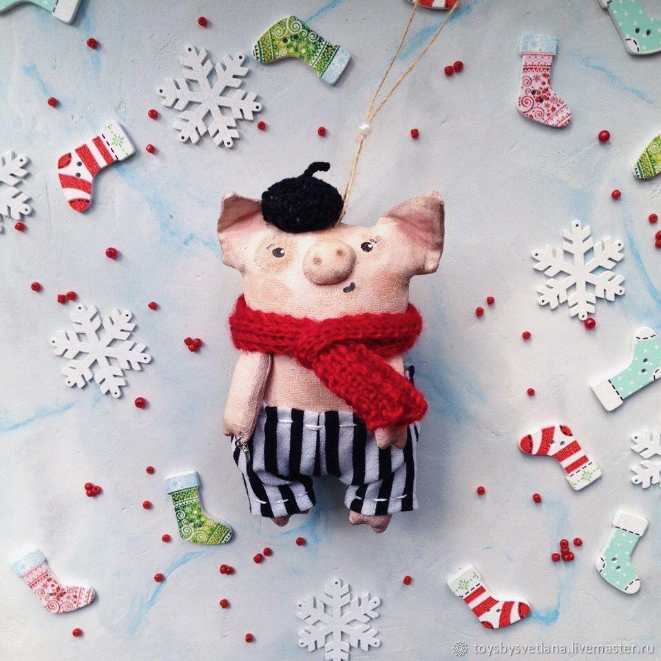 Свинка француз. Интерьерная игрушка, Елочные игрушки, Самара,  Фото №1