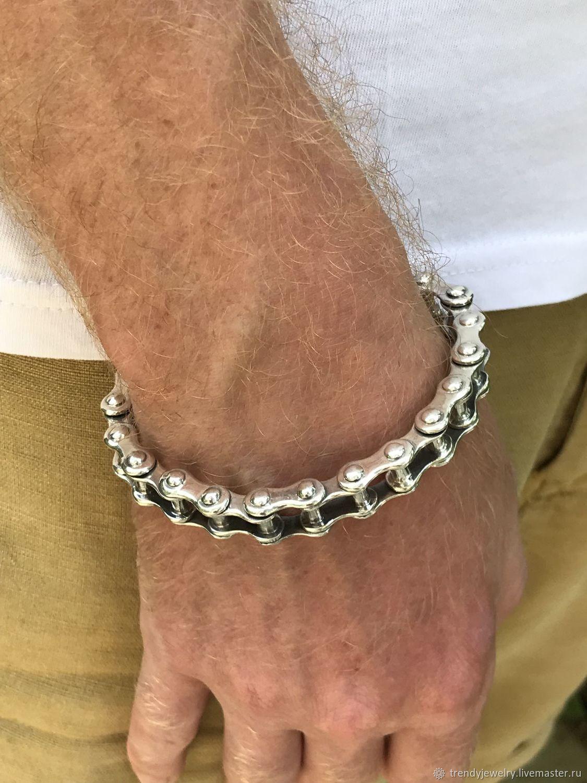Мужской браслет серебро 925 пробы звенья велосипедная цепь