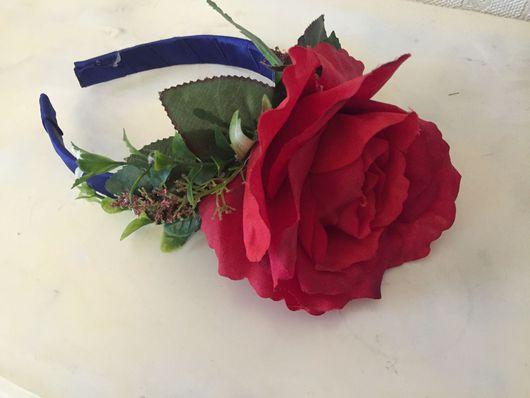"""Диадемы, обручи ручной работы. Ярмарка Мастеров - ручная работа. Купить Ободок с розой """"Фламенко"""". Handmade. Ободок для волос, свадьба"""