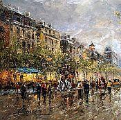 """Пейзаж Парижа Антуана Бланшара """"Theatre Des Varietes Large"""" (копия Кри"""
