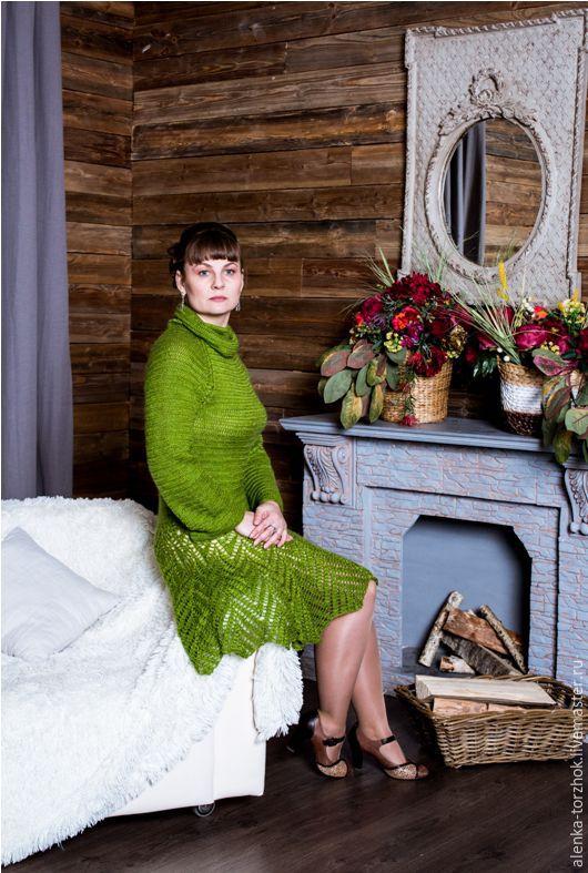 Платья ручной работы. Ярмарка Мастеров - ручная работа. Купить Платье Ёлочка. Handmade. Зеленый, Вязание крючком, модная одежда