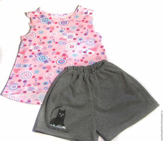 Одежда для девочек, ручной работы. Ярмарка Мастеров - ручная работа. Купить Детский комплект Шортики Маечка для девочки. Handmade. Комбинированный