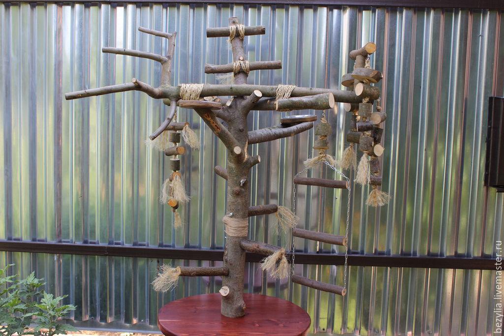 Игровой стенд для крупного попугая своими руками