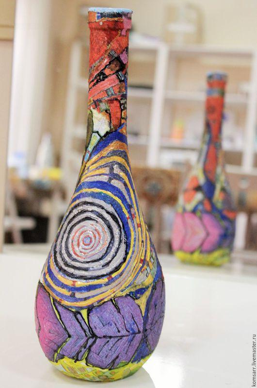 Декоративная посуда ручной работы. Ярмарка Мастеров - ручная работа. Пример Бутылка Абстракция. Handmade.  Абстрактный рисунок, абстракция
