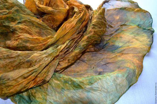 Шарфы и шарфики ручной работы. Ярмарка Мастеров - ручная работа. Купить шелковый женский шарф рыже коричнево зелёный натуральный шелк. Handmade.