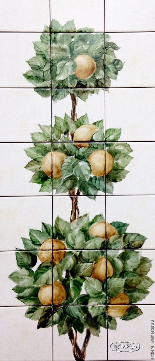 """Декор поверхностей ручной работы. Ярмарка Мастеров - ручная работа. Купить Панно на плитке """" Апельсиновое деревце. Топиарий"""". Handmade."""