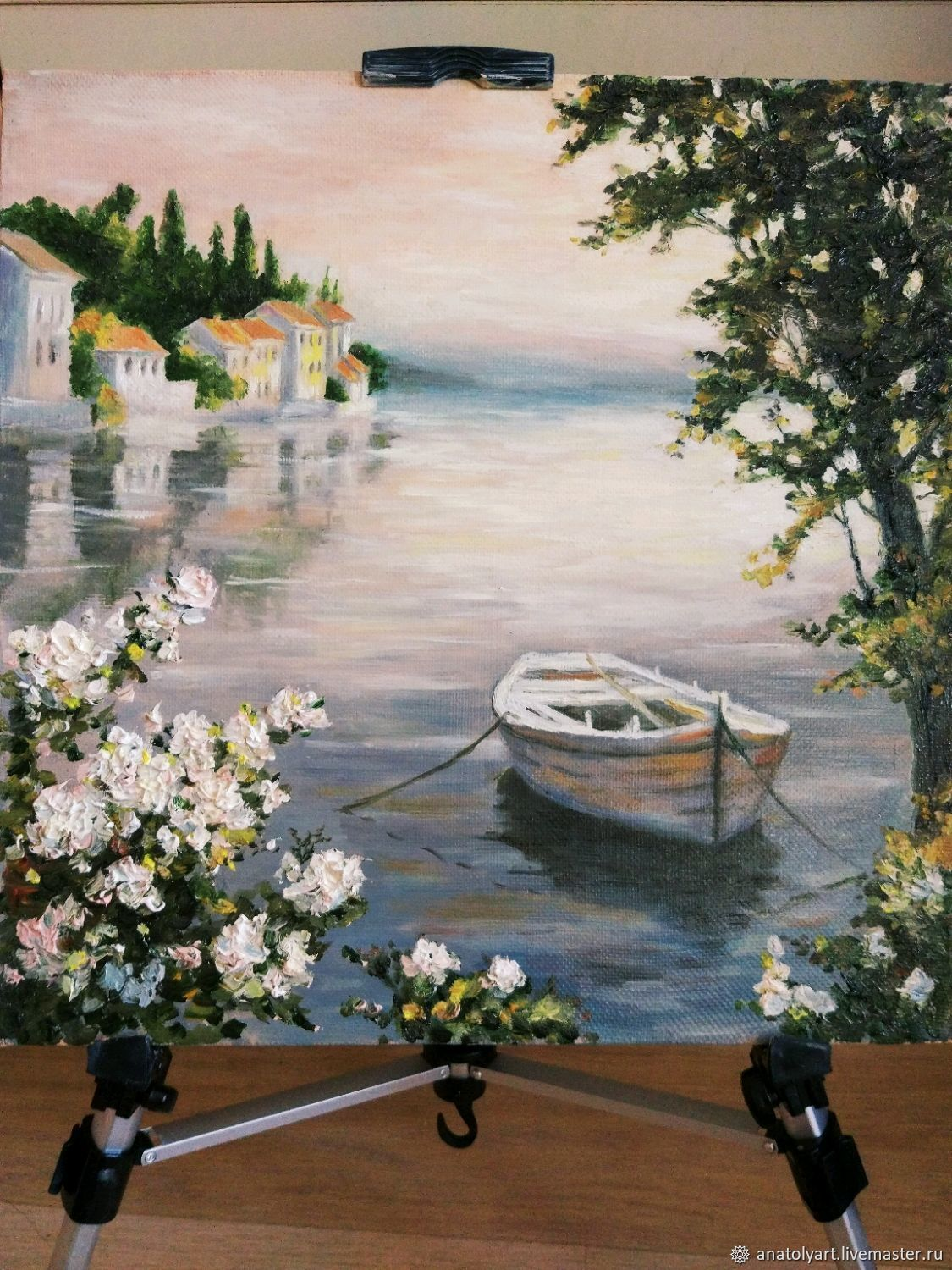 Landscapes handmade. Livemaster - handmade. Buy Water's edge (copy) 40h40.Flowers, oil painting, lake, picture to order