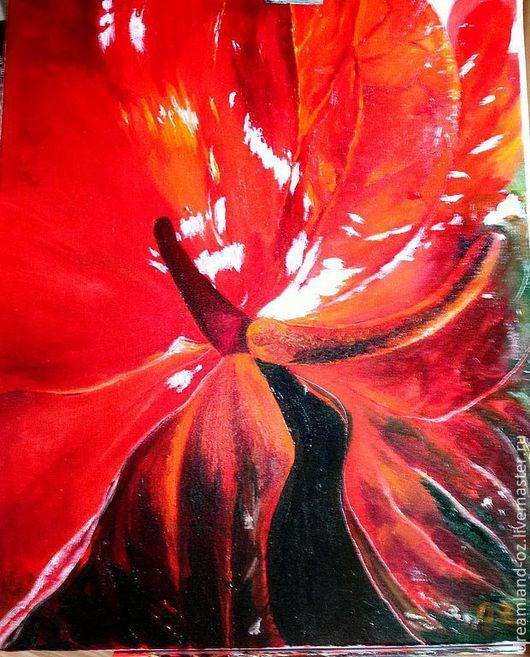 """Картины цветов ручной работы. Ярмарка Мастеров - ручная работа. Купить Картина маслом """" Passion"""". Handmade. Ярко-красный"""