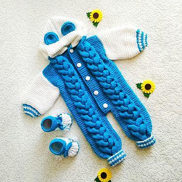Товары для малышей ручной работы. Ярмарка Мастеров - ручная работа Комбинезоны: вязаный комбинезон для малыша от 0 до 06 месяцев. Handmade.