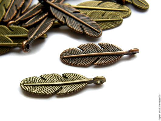 """Для украшений ручной работы. Ярмарка Мастеров - ручная работа. Купить Подвеска """"Перо"""" 29 мм, бронза, медь. Handmade."""