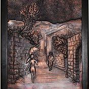 """Картины и панно ручной работы. Ярмарка Мастеров - ручная работа чеканка по меди """"Девушка в старом городе"""". Handmade."""