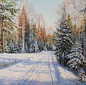Картина маслом, пейзаж. Зимняя прогулка.