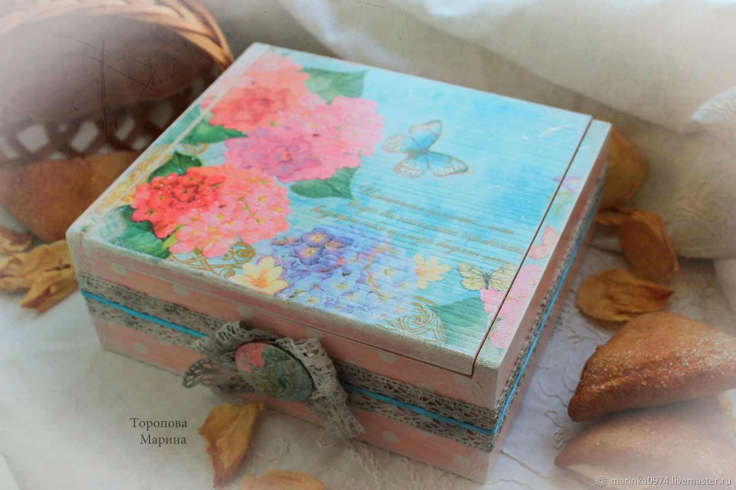 Large box for tea and biscuits 'Hydrangeas bloom. retro', Utensils, Krasnoyarsk, Фото №1