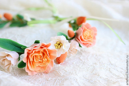 Свадебные украшения ручной работы. Ярмарка Мастеров - ручная работа. Купить Оранжевый венок с розочками. Handmade. Оранжевый, венок на голову