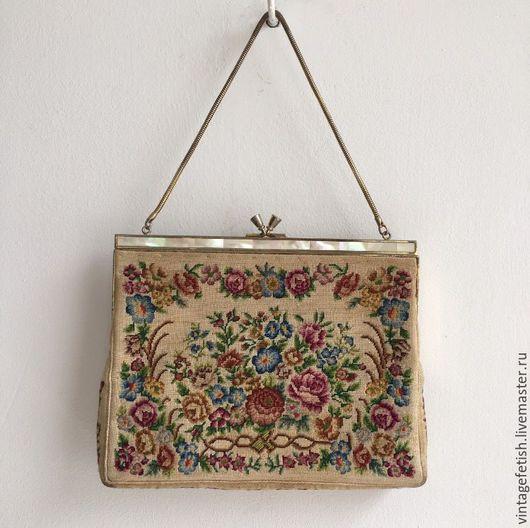 Винтажные сумки и кошельки. Ярмарка Мастеров - ручная работа. Купить Винтажная сумочка с вышивкой и перламутровым фермуаром. Handmade. Комбинированный