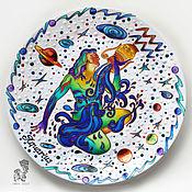 Картины и панно handmade. Livemaster - original item Zodiac sign Aquarius-plate on the wall-a gift to Aquarius. Handmade.