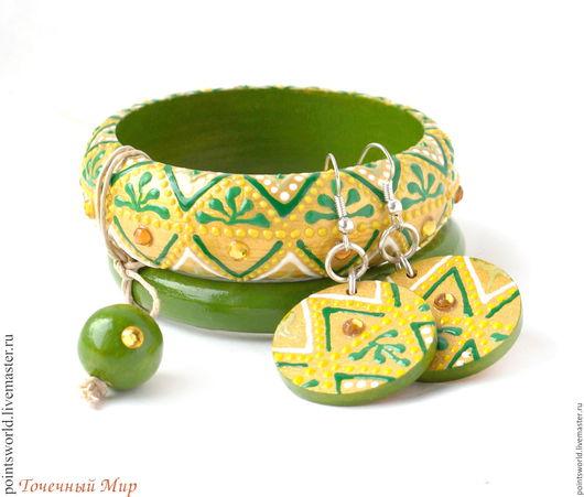 Украшения из дерева, браслет из дерева, комплект украшений из дерева, комплект из дерева, браслет и серьги из дерева, браслеты из дерева, деревянные украшения, зеленый золотой, деревянный браслет
