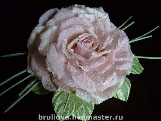 Броши ручной работы. Ярмарка Мастеров - ручная работа. Купить Роза. Handmade. Роза из шелка, бледно-розовый, шифон