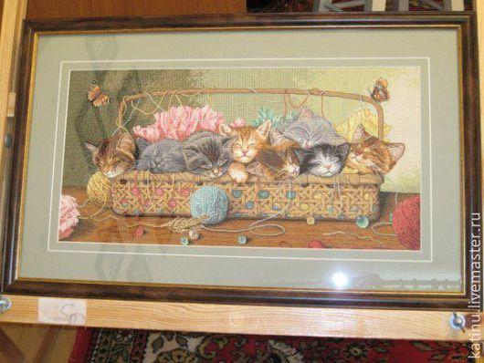 Животные ручной работы. Ярмарка Мастеров - ручная работа. Купить Котята в корзине (кошки)  картина вышивка крестом. Handmade. Вышивка