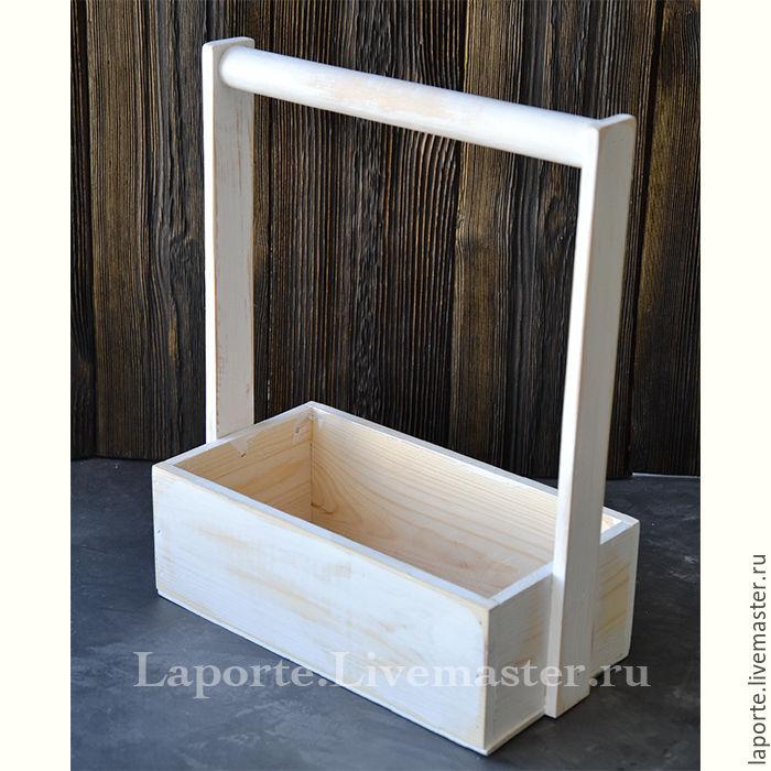 Ящик для цветов #8 деревянный, белого цвета, Упаковка, Москва,  Фото №1