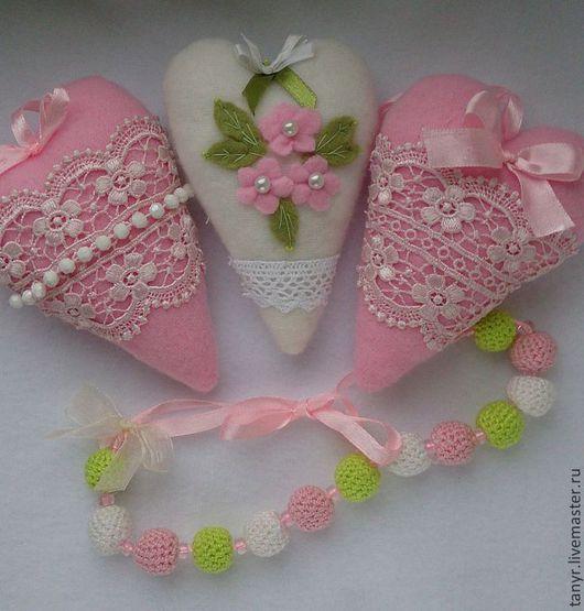 Подвески ручной работы. Ярмарка Мастеров - ручная работа. Купить Текстильные сердечки. Handmade. Розовый, сердце в стиле тильда, валентинка