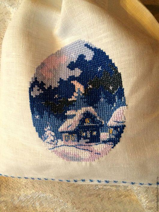 """Кухня ручной работы. Ярмарка Мастеров - ручная работа. Купить Мешочек льняной """"Ночь перед Рождеством"""". Handmade. Белый"""