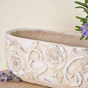 Цветы и флористика handmade. Livemaster - original item Flower girl oval of concrete with an oversized Rose print, Provence. Handmade.