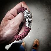 Браслет плетеный ручной работы. Ярмарка Мастеров - ручная работа Серебряный браслет - Тигр. Handmade.