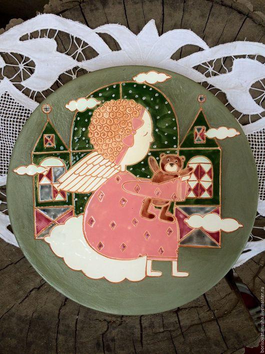 """Тарелки ручной работы. Ярмарка Мастеров - ручная работа. Купить Блюдо """" Ангел"""". Handmade. Комбинированный, тарелка настенная, глазурь"""