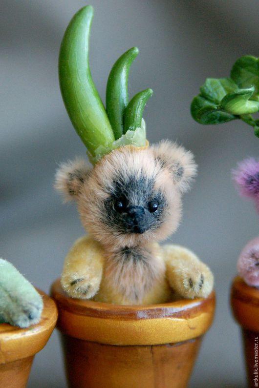 """Мишки Тедди ручной работы. Ярмарка Мастеров - ручная работа. Купить Мишка - росточек """"Лучок"""". Handmade. Желтый, миниатюрный, весенний"""