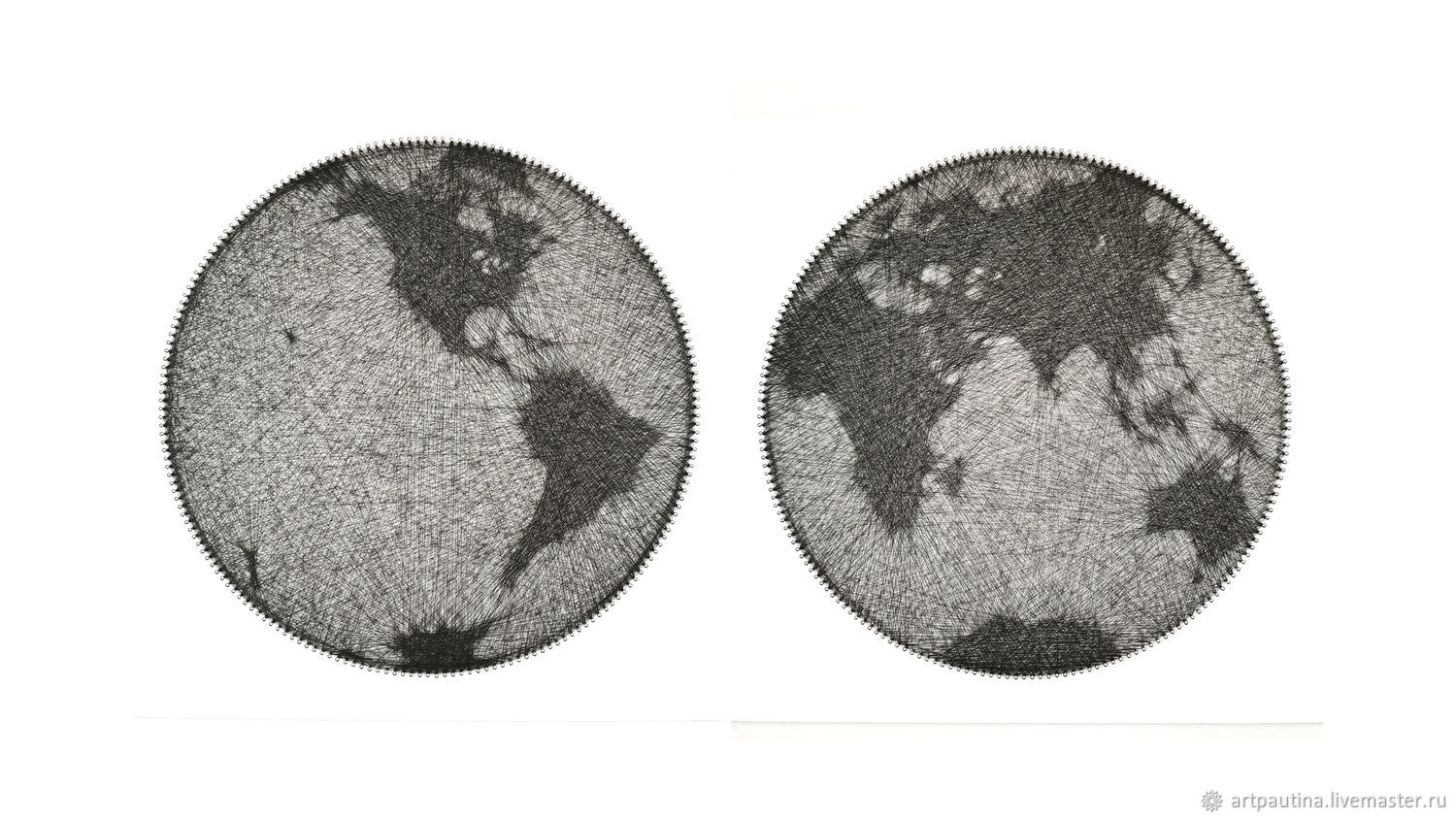 Diptych globe of the Earth, string art painting, Pictures, Moscow,  Фото №1