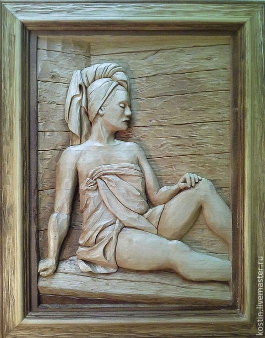 Банные принадлежности ручной работы. Ярмарка Мастеров - ручная работа. Купить Блаженство. Handmade. Панно банное, панно из дерева, сауна