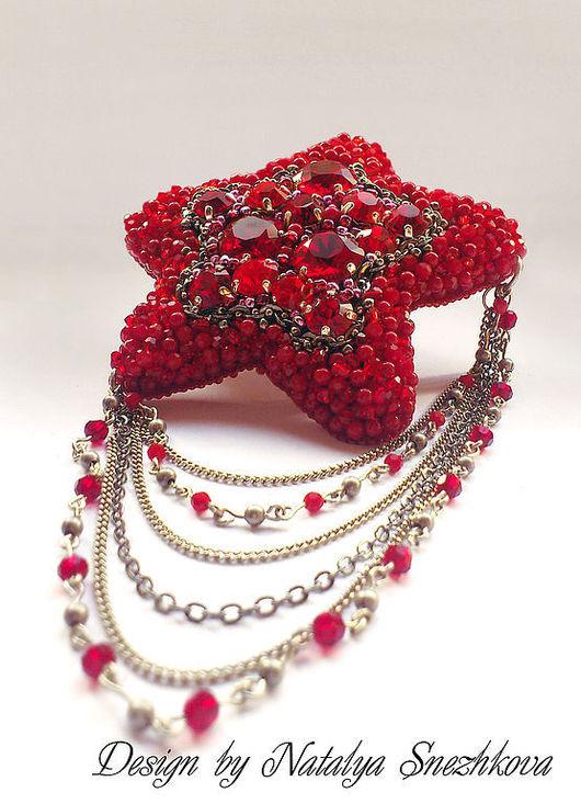 """Броши ручной работы. Ярмарка Мастеров - ручная работа. Купить Брошь """"RED STAR"""". Handmade. Красный, красный коралл, бордовый"""