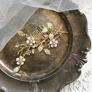 Свадебный салон ручной работы. Ярмарка Мастеров - ручная работа Гребень в винтажном стиле с цветами и стразами, свадебный гребень. Handmade.