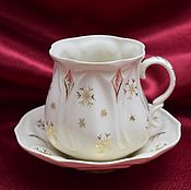 """Посуда ручной работы. Ярмарка Мастеров - ручная работа Чайная пара """"Новогодняя"""". Handmade."""