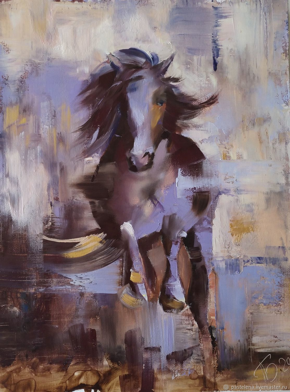 Oil Painting Canvas Running Horse Purple Beige Brown Kupit Na Yarmarke Masterov Lqw0ucom Kartiny