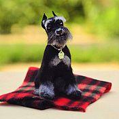 Куклы и игрушки handmade. Livemaster - original item Schnauzer gray/ needle felted copy dog. Handmade.