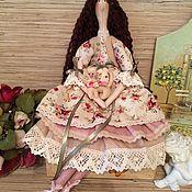 Куклы и игрушки ручной работы. Ярмарка Мастеров - ручная работа Кукла тильда в стиле Шебби-шик с котёнком фея ангел. Handmade.