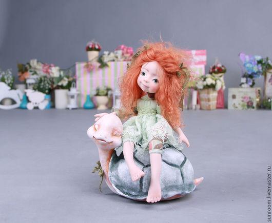 Коллекционные куклы ручной работы. Ярмарка Мастеров - ручная работа. Купить А я кататься!.... Handmade. Мятный, оливковый, интерьерная кукла