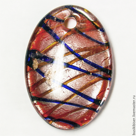 """Для украшений ручной работы. Ярмарка Мастеров - ручная работа. Купить Кулон из муранского стекла """"Овал"""" красный. Handmade. Разноцветный"""