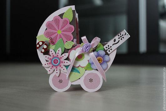 Подарки для новорожденных, ручной работы. Ярмарка Мастеров - ручная работа. Купить открытка-коляска для новорожденной. Handmade. Подарок новорожденному