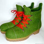 Ботинки ручной работы. Ярмарка Мастеров - ручная работа Ботинки зелёные мужские. Handmade.