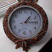 Часы классические ручной работы. Ярмарка Мастеров - ручная работа Часы настенные, декорированные кожей.. Handmade.