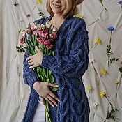 Одежда handmade. Livemaster - original item cardigans: Women`s knitted cardigan of large knitting in the color of jeans. Handmade.