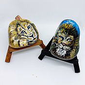 Камни ручной работы. Ярмарка Мастеров - ручная работа Камни: с изображением льва. Handmade.