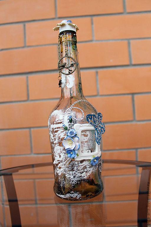 """Вазы ручной работы. Ярмарка Мастеров - ручная работа. Купить Декоротивная бутылка """"Голубое послание"""". Handmade. Синий, бутылка"""