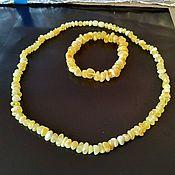 Украшения handmade. Livemaster - original item Beads and bracelet made of natural amber, necklace, matte amber, bracelet. Handmade.