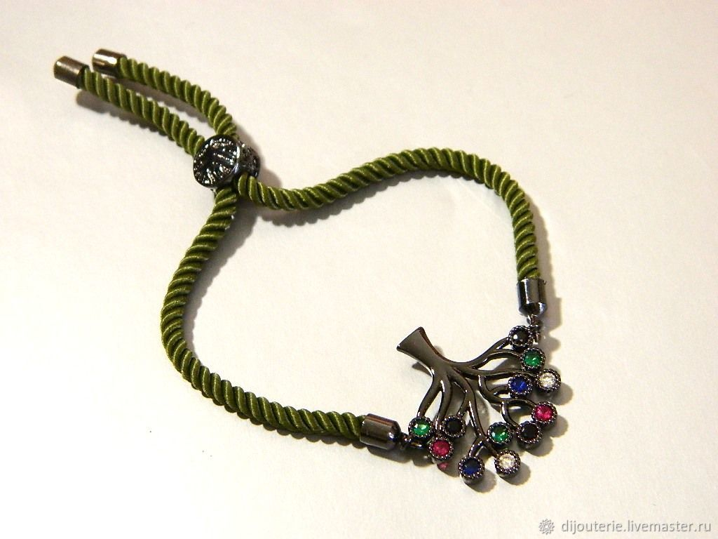 Bracelet 'Tree of life' zircons amulet amulet, Cord bracelet, Saratov,  Фото №1